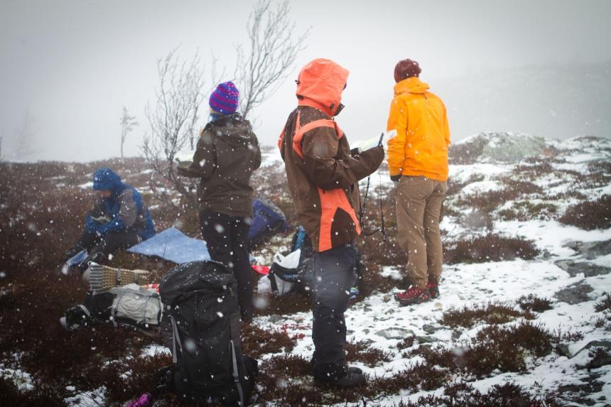 Snøfillene kom iløpet av turen.